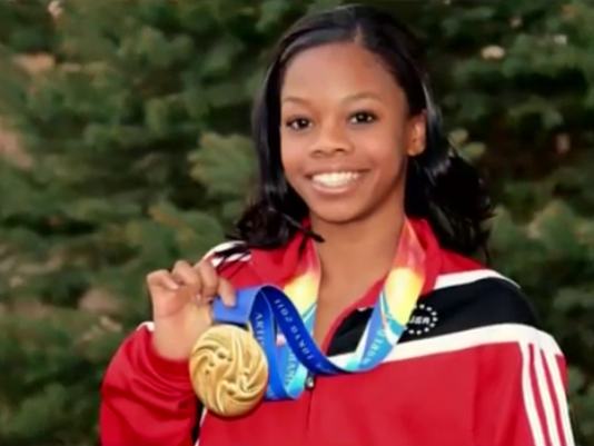 GYMNAST GABBY DOUGLAS WON TWO GOLD MEDALS AT THE LONDON GAMES.