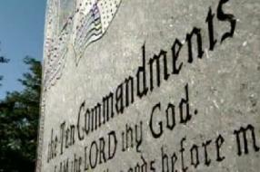 A MONUMENT TO THE TEN COMMANDMENTS HAS STOOD ON THE GROUNDS OF CONNELLSVILLE JUNIOR HIGH FOR MORE THAN HALF A CENTURY.