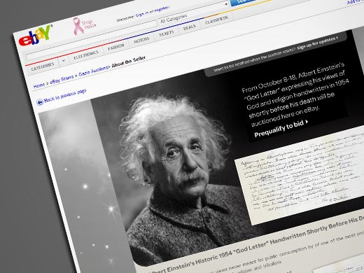 THE RENOWNED PHYSICIST'S SO-CALLED 'GOD LETTER' WILL BE AUCTIONED OFF ON EBAY.