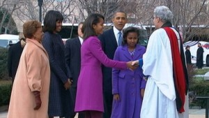 THE FIRST FAMILY MADE A RARE CHURCH APPEARANCE ON INAUGURATION DAY.