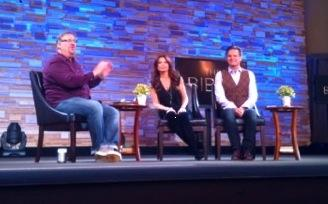 MARK BURNETT AND ROMA DOWNEY VISITED SADDLEBACK CHURCH YESTERDAY WHERE THEY PREVIEWED THEIR NEW MINISERIES, 'THE BIBLE.'