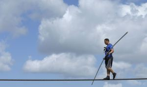 NIK WALLENDA AT PRACTICE THIS WEEK IN ADVANCE OF HIS GRAND CANYON SKYWALK.