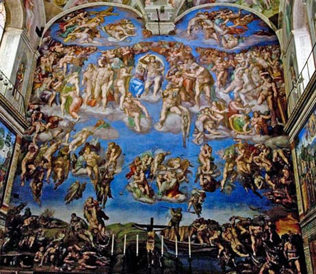 'THE LAST JUDGMENT,' BY MICHELANGELO, ON THE ALTAR WALL OF THE SISTINE CHAPEL.