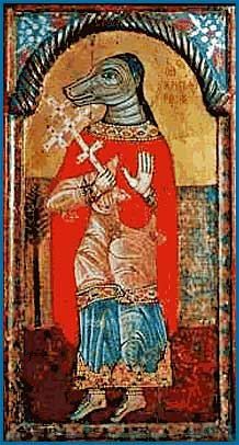 """ST. GUINEFORT, A GREYHOUND """"VENERATED"""" BY FRENCH CATHOLICS DURING THE THIRTEENTH CENTURY, WAS A SUPPOSED PROTECTOR OF INFANTS."""