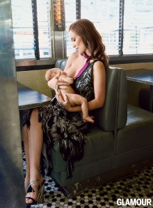 Actress Olivia Wilde, glammed up her expensive designer dress, publicly breastfeeding her five-month old child.