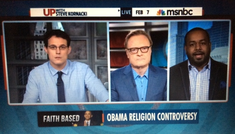 STEVE KORNACKI (L) WITH GUESTS LAWRENCE O'DONNELL AND OBAMA APOLOGIST JOSHUA DUBOIS.
